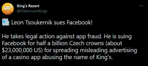 King's Resort anuncia demanda contra Facebook